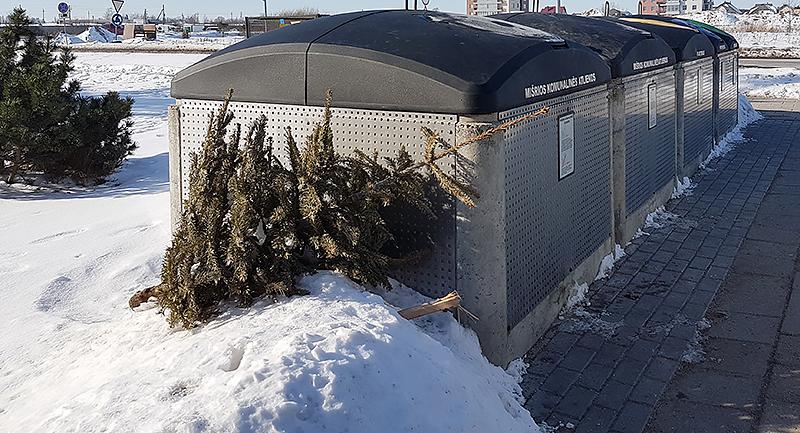 Į pusiau požeminius konteinerius primetama ir statybinių atliekų, ir eglučių – visko. Tai liudija, kad žmonių atliekų rūšiavimo įpročiai dar tik ugdomi.